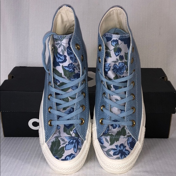 7c277800936a45 Converse HiTops Washed Denim Floral
